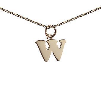 9kt guld 15x11mm plain indledende W vedhæng med et kabel kæde 16 inches kun egnet for børn