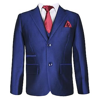 Boys Regular Fit Solid Royal Blue Suit Set
