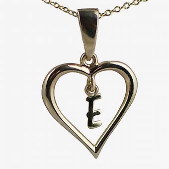 9ct goud 18x18mm eerste E in een hart hanger met een kabel ketting 16 inch alleen geschikt voor kinderen