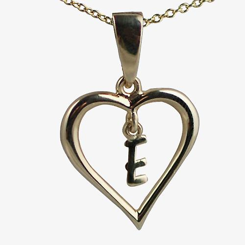 9ct Gold 18x18mm initial E in a heart Pendant with a cable Chain 18 inches