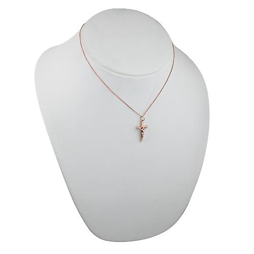 9ct Rose Gold 25x15mm solid block Crucifix Cross with a curb Chain 16 inches Only Suitable for Children