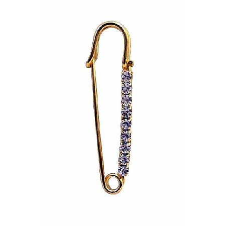 Gold Plated Metal Sparkling Cubic Zircon Safety Pin Brooch