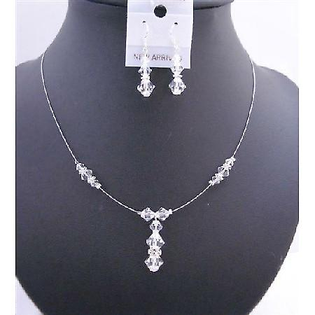 Custom Bridal Wedding Necklace Clear Swarovski Crystals Silver Rondell