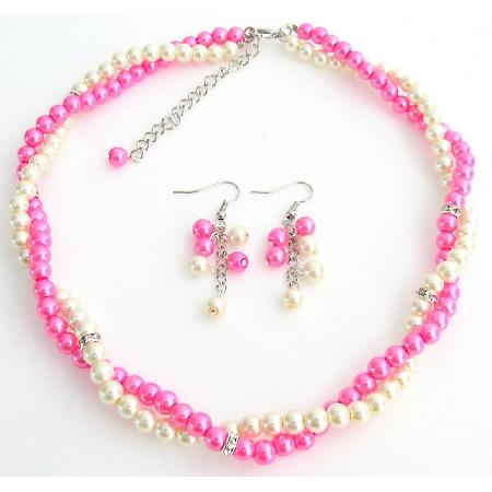 Hot pink Ivory Bridesmaid Jewelry Set Necklace Earrings Set With Rhinestone Spacer