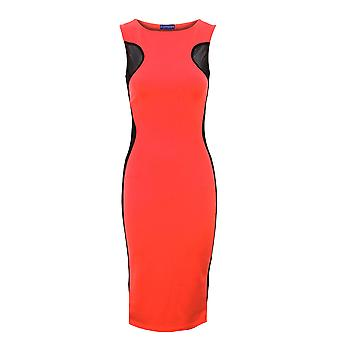 Ladies Sleeveless Contrast Mesh Dress Slimming Effect Womens Bodycon Dress