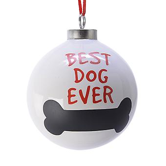 TRIXES Best Dog Ever Bone Xmas Ceramic Ornament Cream and Red