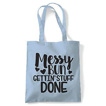 Chignon disordinato Gettin ' roba fatto, Tote Bag | Reusable Shopping Bag di tela di cotone lungo gestito naturale Shopper moda Eco-Friendly | Borsa da palestra libro regalo di compleanno regalo lei | Più colori disponibili