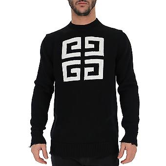 Givenchy White/black Cotton Sweater