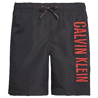 Calvin Klein Boys Intense Power Medium Drawstring Swim Shorts, Black With Red Logo, Large