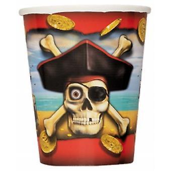 Disposable Party/Picnic Paper Glasses/Cups 9Oz 8/Pk - Pirates