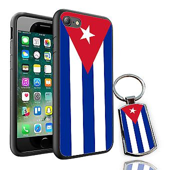 For Huawei P9 - Cuba Flag Design Printed Black Case Skin Cover + Free Metal Keyring - 0044 by i-Tronixs