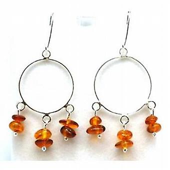 The Olivia Collection Sterling Silver Round Amber Fancy Drop Earrings