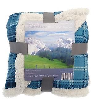 Tartan Check Sherpa Fleece Reversible Blanket: Teal