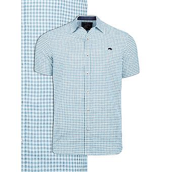 Short Sleeve Linen Look Gingham Shirt - Sky Blue