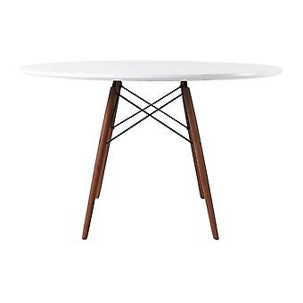 Fusion Living Eiffel Inspired Large White Circular Dining Table With Walnut Wood Legs