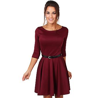 KRISP Belted Skater 3/4 Sleeve Dress