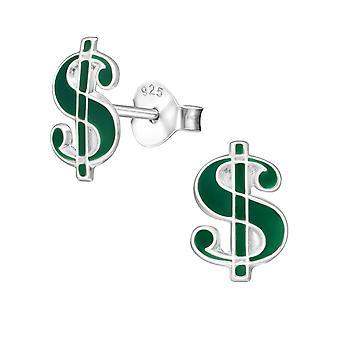 Dollar - 925 Sterling Silver Colourful Ear Studs - W7349X