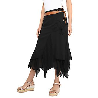 KRISP Womens Lace Layered Hitched Maxi Rock A Line Gypsy Boho Long Asymmetric Summer