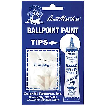 Aunt Martha's Ballpoint Paint Tubes Replacement Tips 6 Pkg Rt1