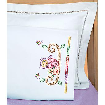 Children's Stamped Pillowcase With White Perle Edge 1 Pkg Owls 1605 506