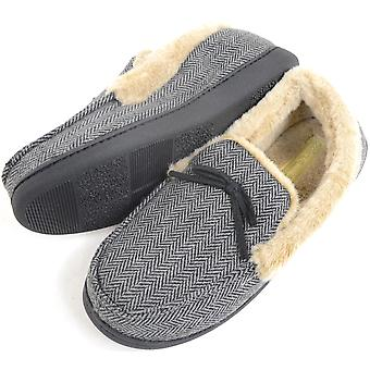 Mens Herringbone Design Moccasin Style Slippers with Warm Faux Fur Lining and Cuff - Brown - Large (UK11 / UK12)