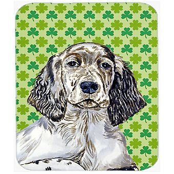 English Setter St. Patrick's Day Shamrock Portrait Mouse Pad, Hot Pad or Trivet