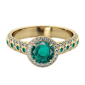 14K Yellow Gold 2.50 ctw Emerald Ring with Diamonds Vintage Micro Pave Halo