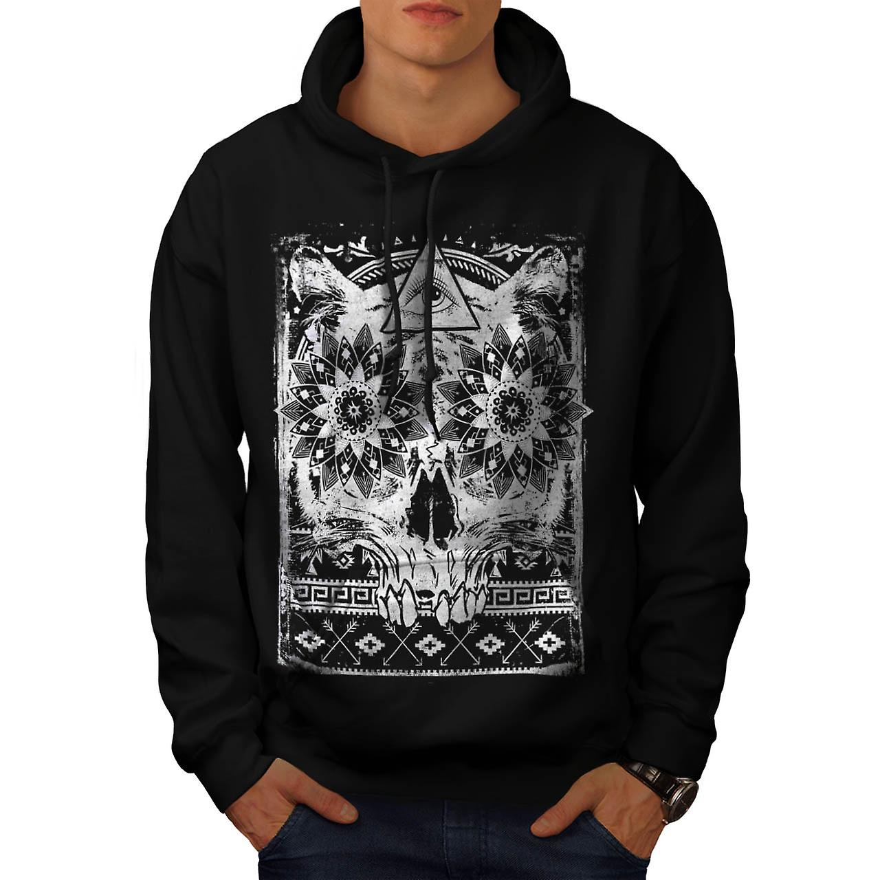 Illuminati Psycho Skull Men Black Hoodie | Wellcoda