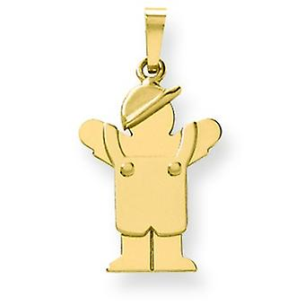 14k Gold Solid Engraveable Boy in Overalls with Hat on Left Charm