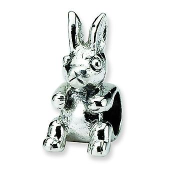 Sterling Silver Polished Antique finish Reflections SimStars Kids Bunny Bead Charm