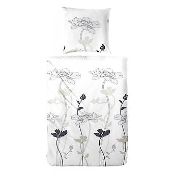 COCK Maco Satin Bed linen flowers grey 135 x 200 cm