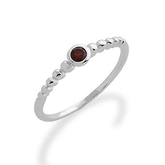 Gemondo 925 Sterling Silver 0.12ct Garnet Stackable Birthstone Ring