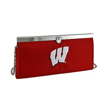 Embroidered Wisconsin Badgers Fabric Clutch Wallet w/Chain Strap