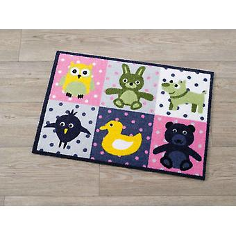 Doormat dirt trapping pad animals patchwork stained 50 x 70 cm. 101929