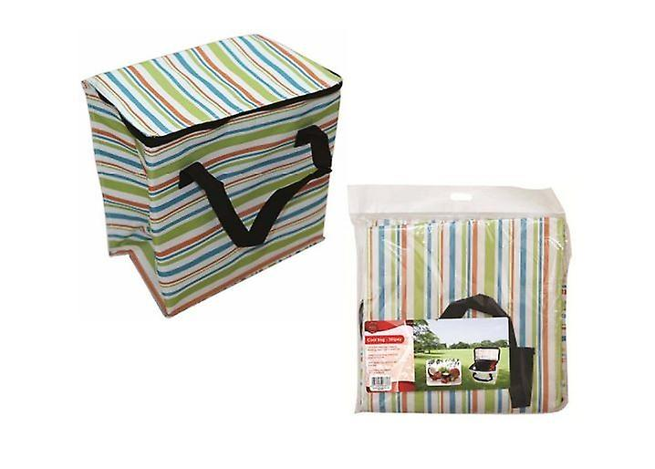 Stripy Cool Bag Food Drink Lunch Insulated Ice Cooler Box Camping Picnic