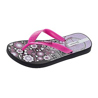 Ipanema Paris Girls Flip Flops / Sandals - Black and Pink