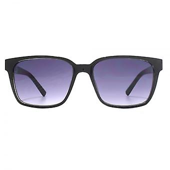 French Connection Metal Temple Insert Rectangle Sunglasses In Shiny Black