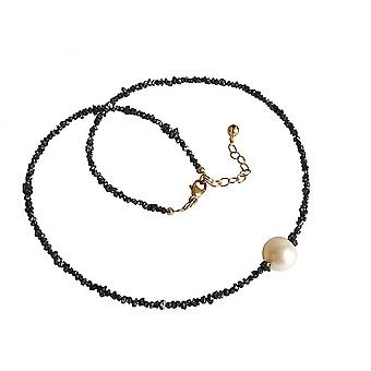 Ladies - necklace - diamond - Black - Pearl - White - 45 cm