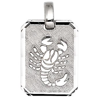 Trailer zodiac sign Scorpio 925 sterling silver rhodium plated partly frosted
