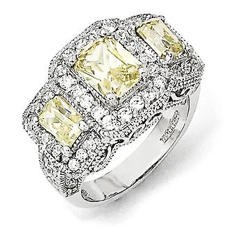 Sterling Silver Step Cut Radiant Cut Rhodium-plated Canary and White Cubic Zirconia 3-stone Ring - Ring Size: 6 to 8