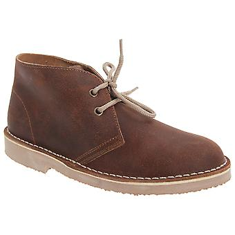 Roamers Childrens Unisex Unlined Distressed Leather Desert Boots