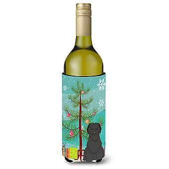 Merry Christmas Tree Briard Black Wine Bottle Beverge Insulator Hugger