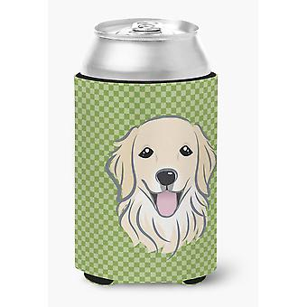 Green Checkered Golden Retriever Can or Bottle Hugger