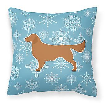 Winter Snowflake Golden Retriever Fabric Decorative Pillow