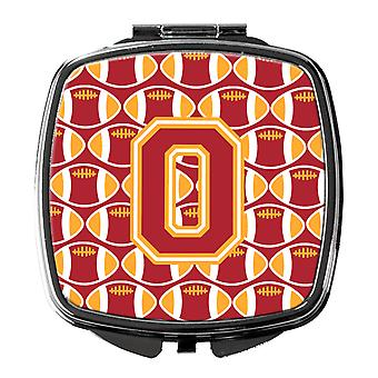 Letter O Football Cardinal and Gold Compact Mirror