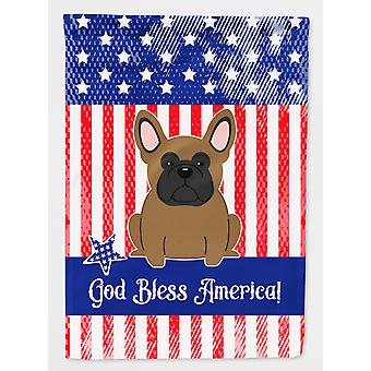 Patriotic USA French Bulldog Brown Flag Garden Size