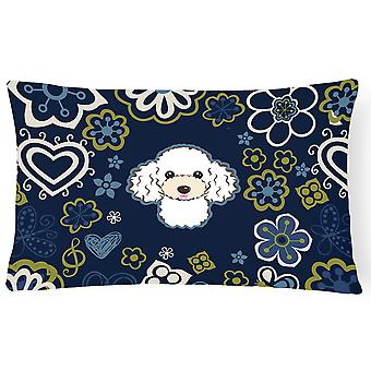 Blue Flowers White Poodle Canvas Fabric Decorative Pillow