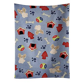 Dog House Collection Papillon Sable White Kitchen Towel