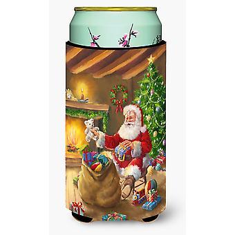 عيد الميلاد سانتا كلوز وتفريغ لعب صبي طويل القامة المشروبات عازل نعالها