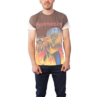 Iron Maiden T Shirt Number Of The Beast all over Official Mens Slim Fit Sub Dye